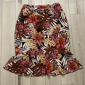 Vintage Fall colored floral silk skirt by collette Mordo size 8